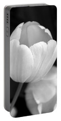 Opening Tulip Flower Black And White Portable Battery Charger