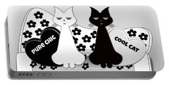 Opposites Attract - Black And White Cats On The Sofa Portable Battery Charger
