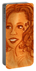 Portable Battery Charger featuring the mixed media Oprah by Desline Vitto