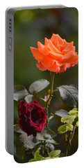 Orange And Black Rose Portable Battery Charger