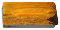Portable Battery Charger featuring the painting Orange Beach by Ian  MacDonald