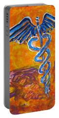 Orange Blue Purple Medical Caduceus Thats Atmospheric And Rising With Mystery Portable Battery Charger by M Zimmerman