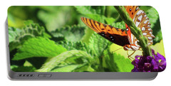 Orange Butterfly Green Leaves Portable Battery Charger