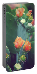 Orange Cactus Bloom Portable Battery Charger