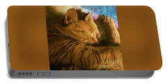 Orange Cat Sleepy Time Portable Battery Charger