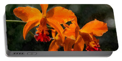 Orange Cattleya Orchid Portable Battery Charger
