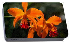 Portable Battery Charger featuring the digital art Orange Cattleya Orchid by Kai Saarto