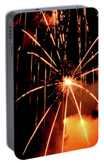 Portable Battery Charger featuring the photograph Orange Chetola Fireworks by Meta Gatschenberger