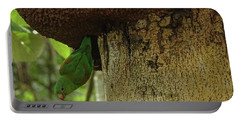Orange -chinned Parakeet  On A Termite Mound Portable Battery Charger