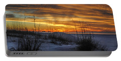 Orange Clouded Sunrise Over The Pier Portable Battery Charger