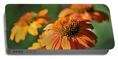 Orange Cone Flowers In Morning Light Portable Battery Charger