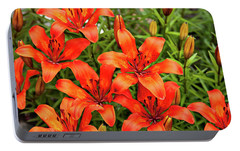 Portable Battery Charger featuring the photograph Orange Day Lillies by Mary Jo Allen