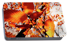 Portable Battery Charger featuring the photograph Orange Fall Leaves by Meta Gatschenberger