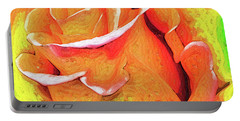 Orange Flame Rose Portable Battery Charger