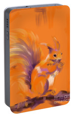 Portable Battery Charger featuring the painting Orange Forest Squirrel by Go Van Kampen
