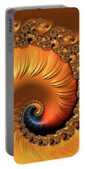 Portable Battery Charger featuring the digital art Orange Fractal Spiral Warm Tones by Matthias Hauser