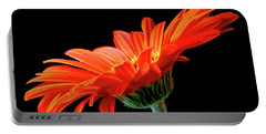 Orange Gerbera On Black Portable Battery Charger