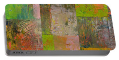 Portable Battery Charger featuring the painting Orange Green And Grey by Michelle Calkins