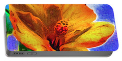 Orange Hibiscus Portable Battery Charger by Kirt Tisdale