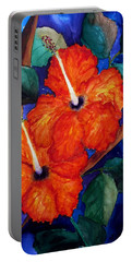 Portable Battery Charger featuring the painting Orange Hibiscus by Lil Taylor