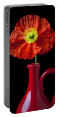 Orange Iceland Poppy In Red Pitcher Portable Battery Charger