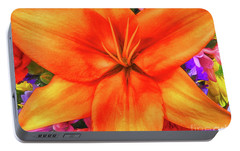 Portable Battery Charger featuring the painting Orange Lilly Art by Deborah Benoit