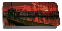 Orange Marina Sunrise Portable Battery Charger by Tom Claud