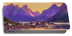 Portable Battery Charger featuring the photograph Orange Night In A Harbour by Dmytro Korol