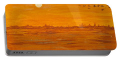 Portable Battery Charger featuring the painting Orange Ocean by Ian  MacDonald