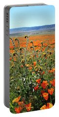 Portable Battery Charger featuring the mixed media Orange Poppies And Fiddleneck- Art By Linda Woods by Linda Woods
