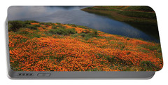 Orange Poppy Fields At Diamond Lake In California Portable Battery Charger by Jetson Nguyen