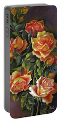 Orange Roses Portable Battery Charger by Katia Aho