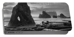 Orange Skies Over Ruby Beach Black And White Portable Battery Charger