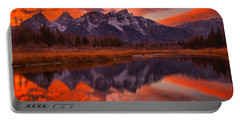 Orange Skies Over The Tetons Portable Battery Charger