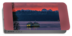 Orange Sky With Purple Sea Portable Battery Charger