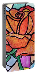 Orange Stained Glass Rose Portable Battery Charger