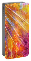 Portable Battery Charger featuring the painting Orange Sunburst Forest Abstract  by Ellen Levinson