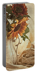 Orange Sunflowers - Found In The Attic Portable Battery Charger