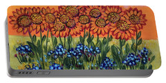 Orange Sunset Flowers Portable Battery Charger