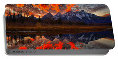 Orange Sunset Highlights Over The Tetons Portable Battery Charger