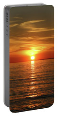 Portable Battery Charger featuring the photograph Orange Sunset Lake Superior by Paula Brown