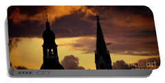 Orange Sunset View In Old Town Riga Artmif Portable Battery Charger