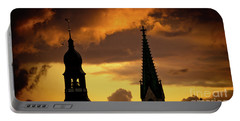 Orange Sunset View In Old Town Riga Portable Battery Charger