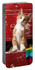 Orange Tabby Kitten In Red Drawer  Portable Battery Charger