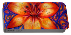 Orange Tiger Lily Drawing Portable Battery Charger