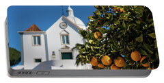 Orange Tree And Church - Castro Marim, Portugal Portable Battery Charger