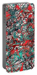 Portable Battery Charger featuring the painting Orange Turquoise Drip Abstract by Genevieve Esson