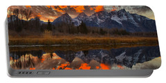 Orange Wisps Over The Tetons Portable Battery Charger