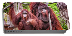 Orangutan Couple Portable Battery Charger by Stephanie Hayes
