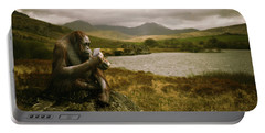 Orangutan With Smart Phone Portable Battery Charger by Amanda Elwell